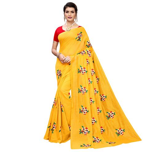 Ethnic Yellow Colored Partywear Embroidered Chanderi Silk Saree
