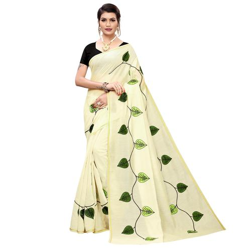 Ravishing Cream-Green Colored Partywear Embroidered Chanderi Silk Saree