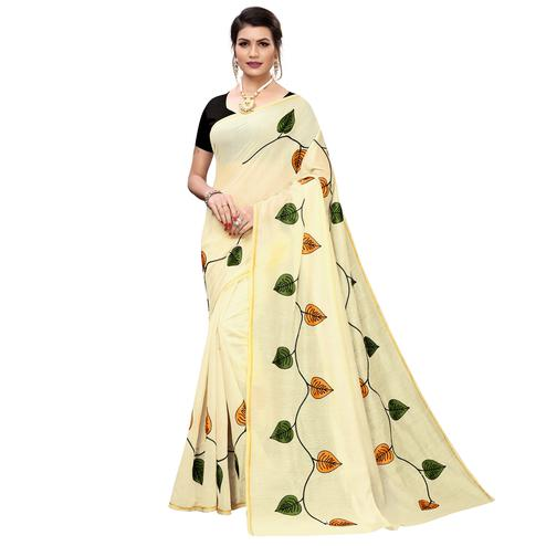 Staring Cream-Orange Colored Partywear Embroidered Chanderi Silk Saree