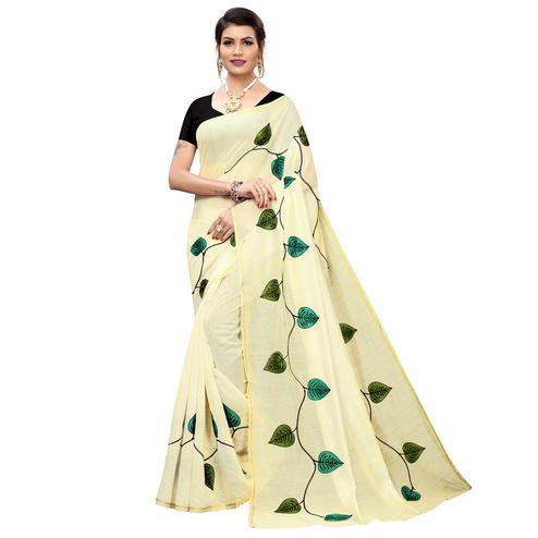 Surpassing Cream-Rama Green Colored Partywear Embroidered Chanderi Silk Saree