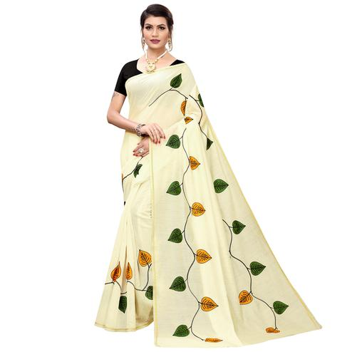 Arresting Cream-Yellow Colored Partywear Embroidered Chanderi Silk Saree