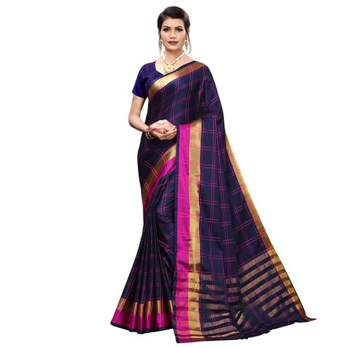 Exotic Navy Blue Colored Festive Wear Printed Cotton Silk Saree