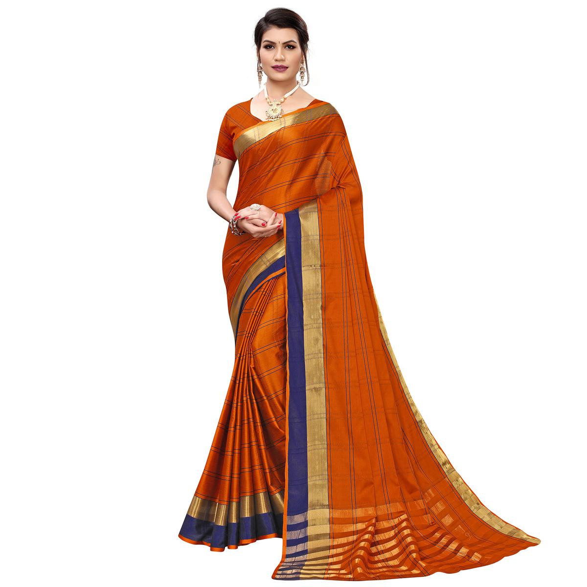 Sophisticated Orange Colored Festive Wear Printed Cotton Silk Saree