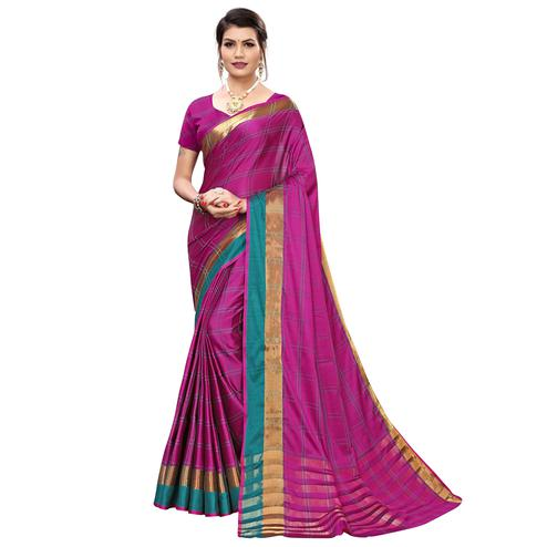 Trendy Pink Colored Festive Wear Printed Cotton Silk Saree