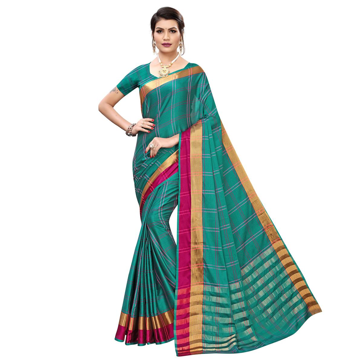 Elegant Rama Green Colored Festive Wear Printed Cotton Silk Saree