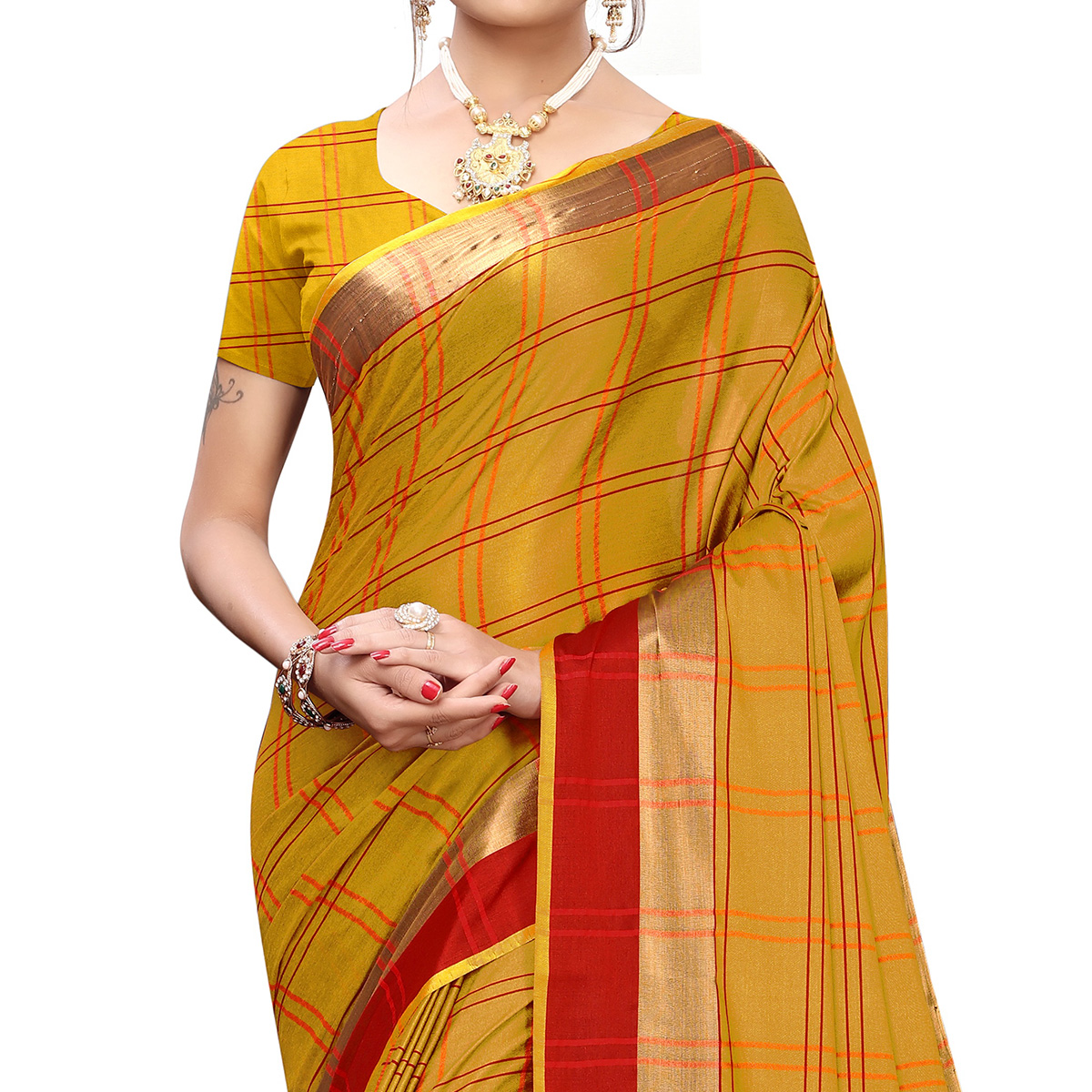 Radiant Mustard Yellow Colored Festive Wear Printed Cotton Silk Saree