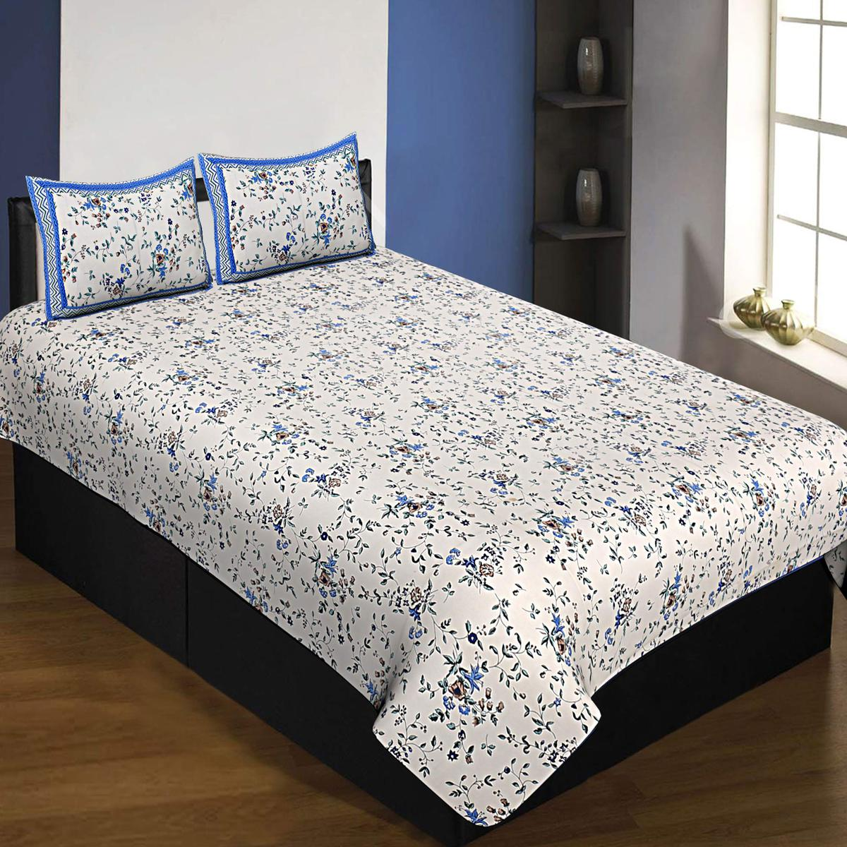 Trendy White-Blue Colored Floral Printed Cotton Queen Size Bedsheet With Pillow Cover Set