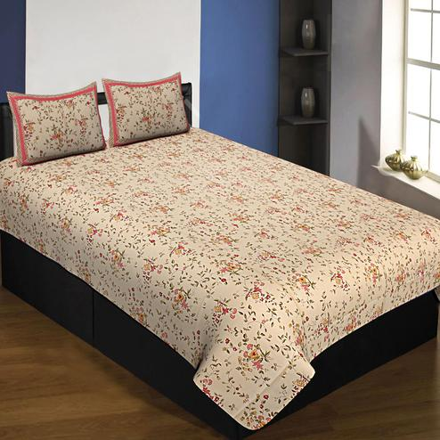 Opulent Cream Colored Floral Printed Cotton Queen Size Bedsheet With Pillow Cover Set