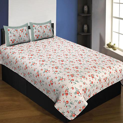 Energetic White-Red Colored Floral Printed Cotton Queen Size Bedsheet With Pillow Cover Set