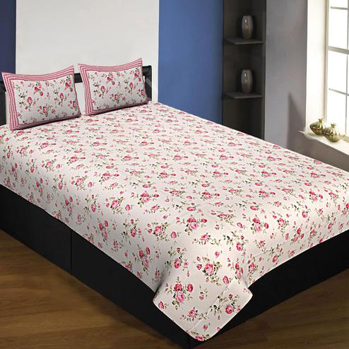 Exceptional White-Pink Colored Floral Printed Cotton Queen Size Bedsheet With Pillow Cover Set