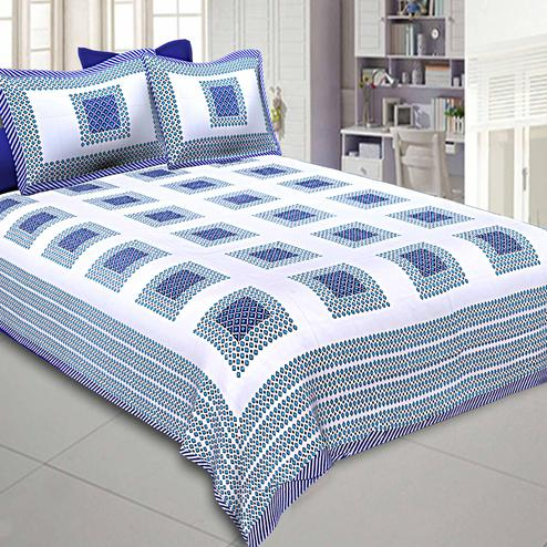 Refreshing White-Blue Colored Printed Cotton Double Bedsheet With Pillow Cover Set