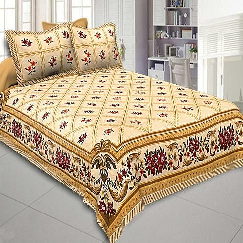 Magnetic Light Yellow Colored Floral Printed Cotton Double Bedsheet With Pillow Cover Set