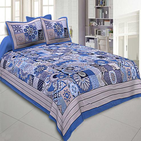 Excellent Blue Colored Printed Cotton Double Bedsheet With Pillow Cover Set