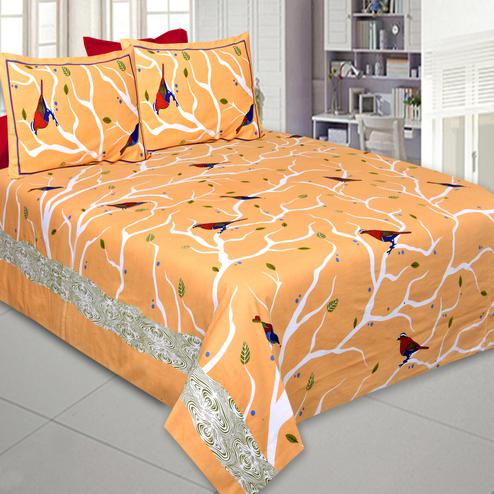 Preferable Light Orange Colored Printed Cotton Double Bedsheet With Pillow Cover Set