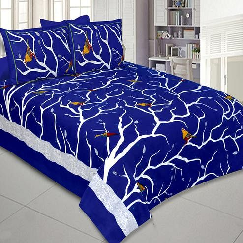 Marvellous Blue Colored Printed Cotton Double Bedsheet With Pillow Cover Set
