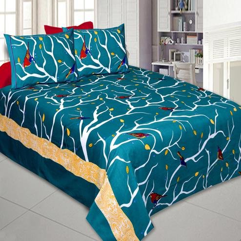 Flamboyant Teal Blue Colored Printed Cotton Double Bedsheet With Pillow Cover Set