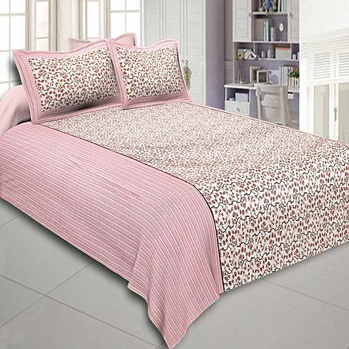 Desirable White-Pink Colored Floral Printed Cotton Double Bedsheet With Pillow Cover Set