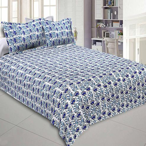 Ideal Blue Colored Floral Printed Cotton Double Bedsheet With Pillow Cover Set