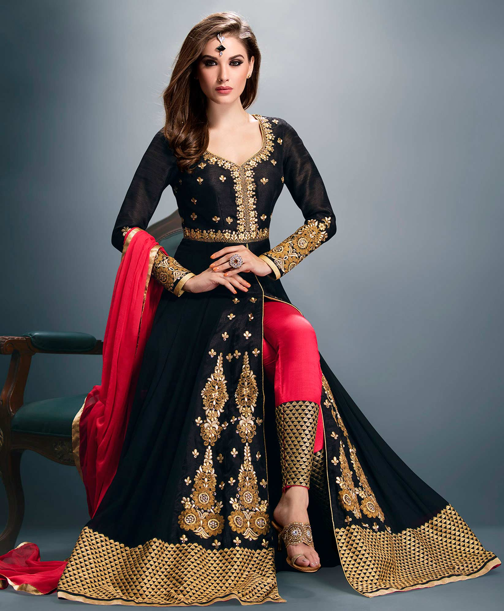 Black Faux Georgette Anarkali