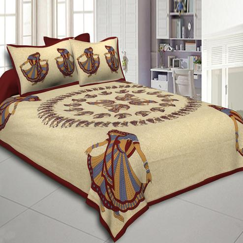 Impressive Beige-Maroon Colored Printed Cotton Double Bedsheet With Pillow Cover Set