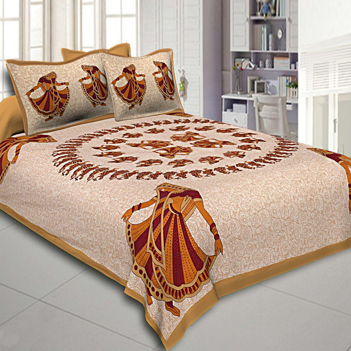 Staring Beige Colored Printed Cotton Double Bedsheet With Pillow Cover Set