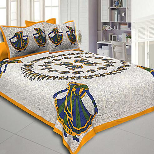 Dazzling White-Yellow Colored Printed Cotton Double Bedsheet With Pillow Cover Set