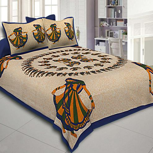 Surpassing Beige-Blue Colored Printed Cotton Double Bedsheet With Pillow Cover Set