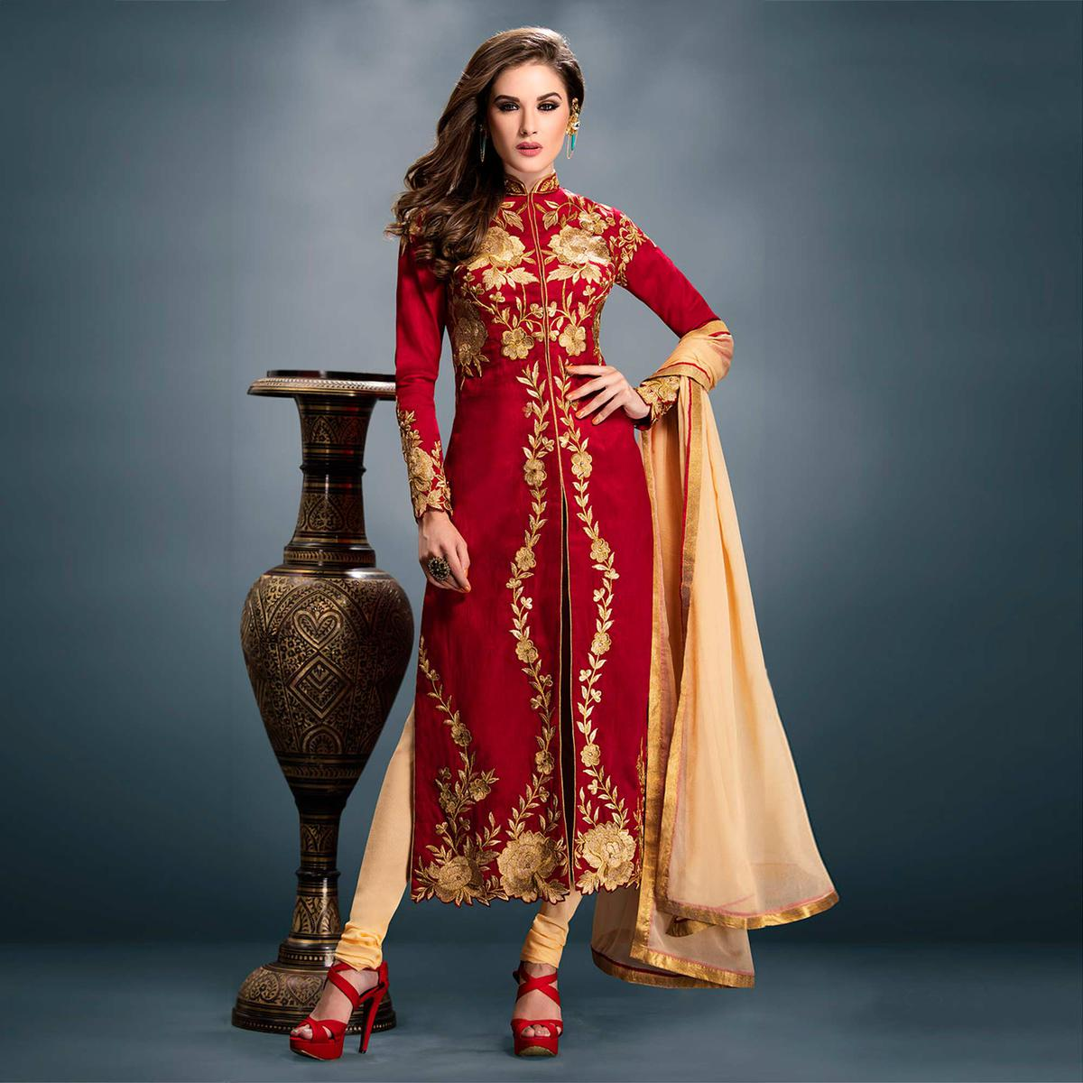 Red Bangalori Silk Suit