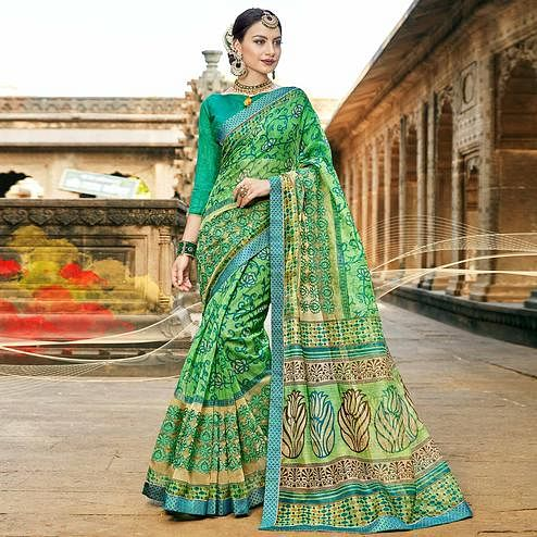 Amazing Green Colored Casual Printed Netted Saree