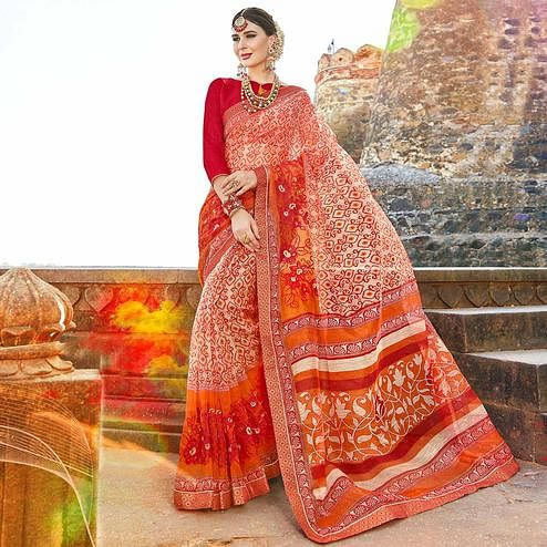 Gorgeous Red-Multi Colored Casual Printed Netted Saree