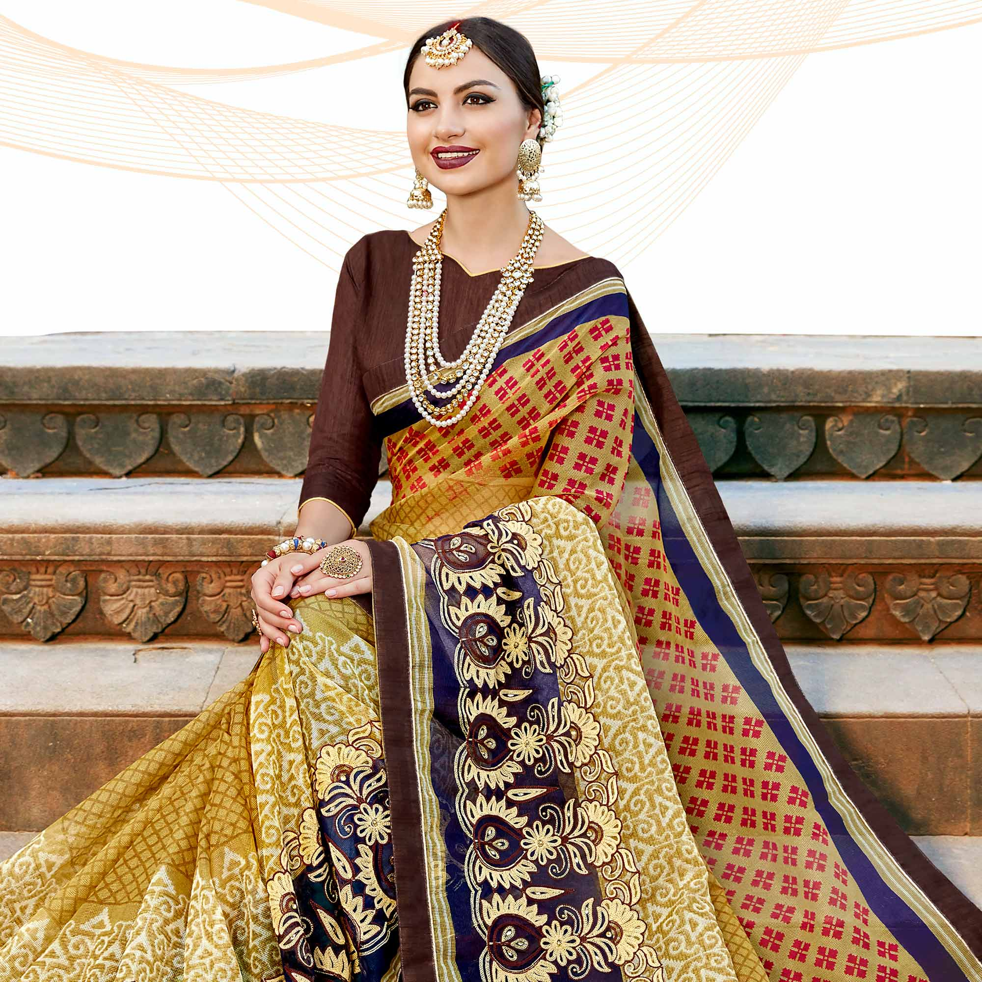 Blissful Olive Green Colored Casual Printed Netted Saree