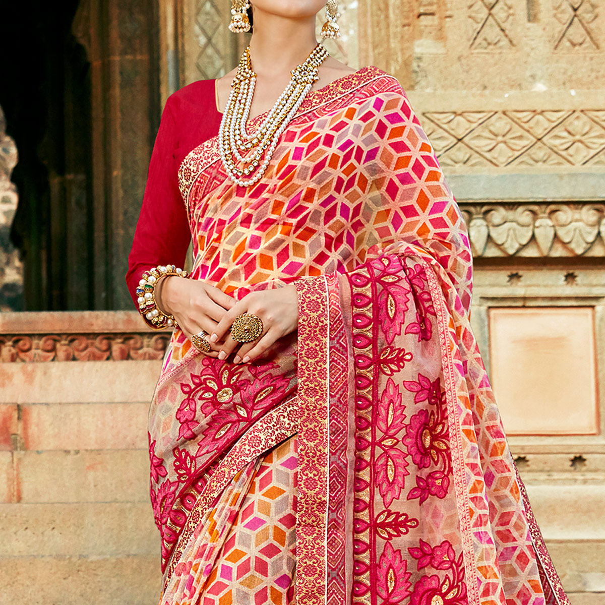 Ideal Multi Colored Casual Printed Netted Saree