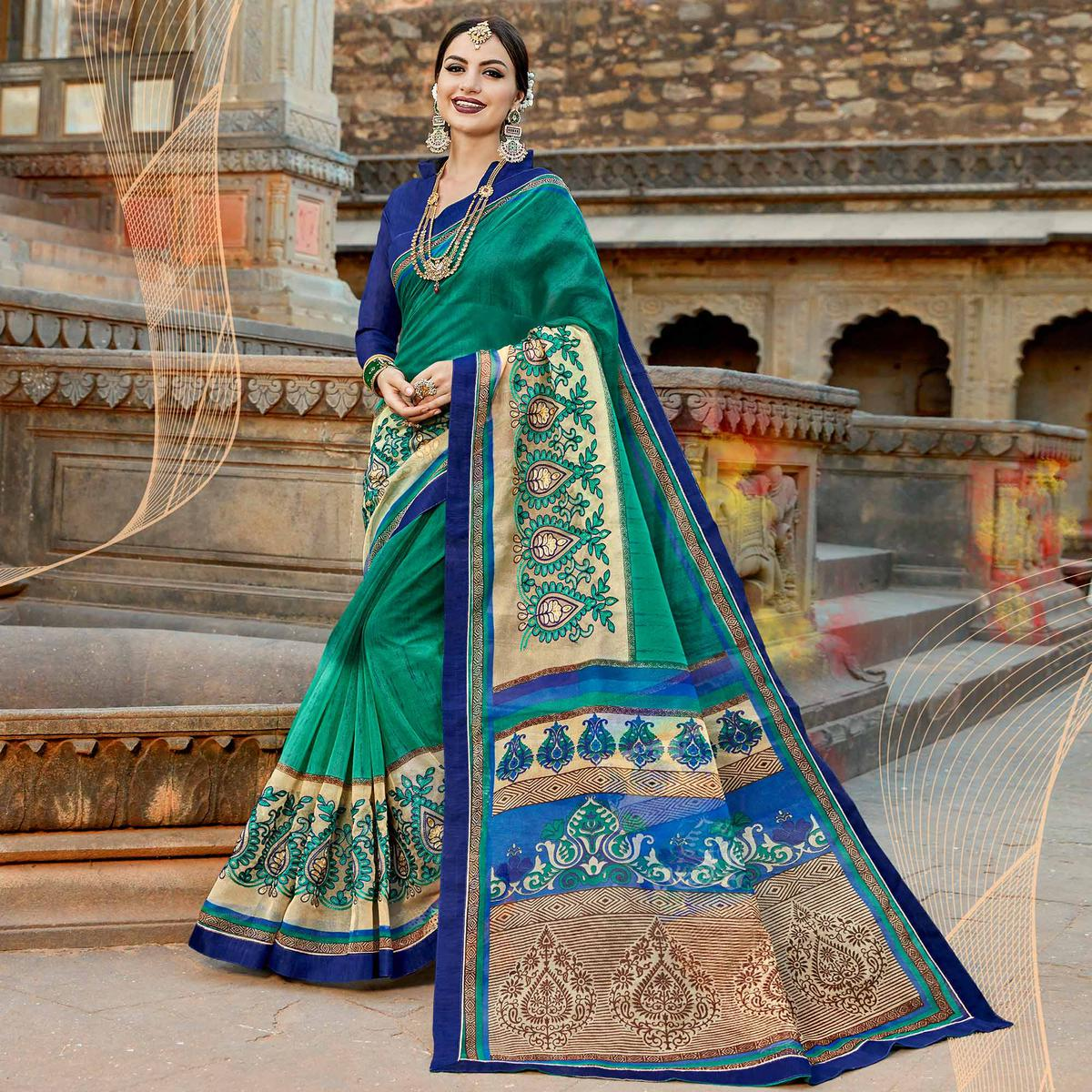 Imposing Turquoise Green Colored Casual Printed Netted Saree