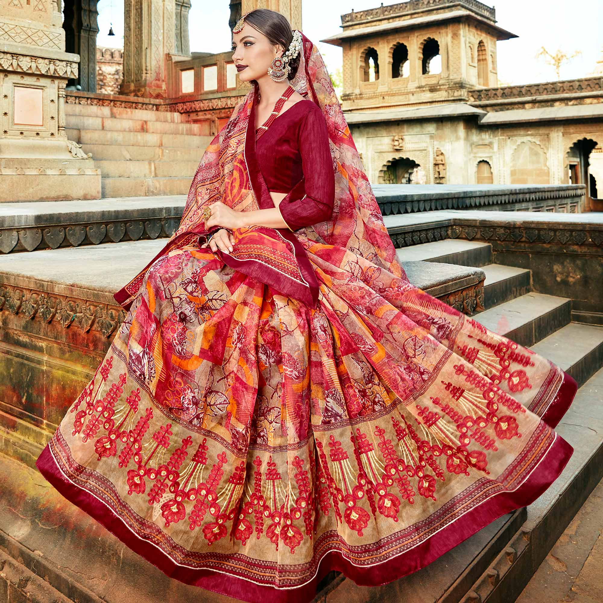 Lovely Red Colored Casual Printed Netted Saree