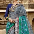 Majesty Gray Colored Casual Printed Netted Saree