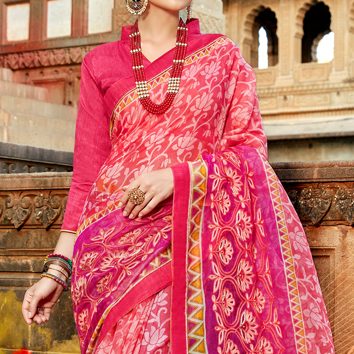 Impressive Pink Colored Casual Printed Netted Saree