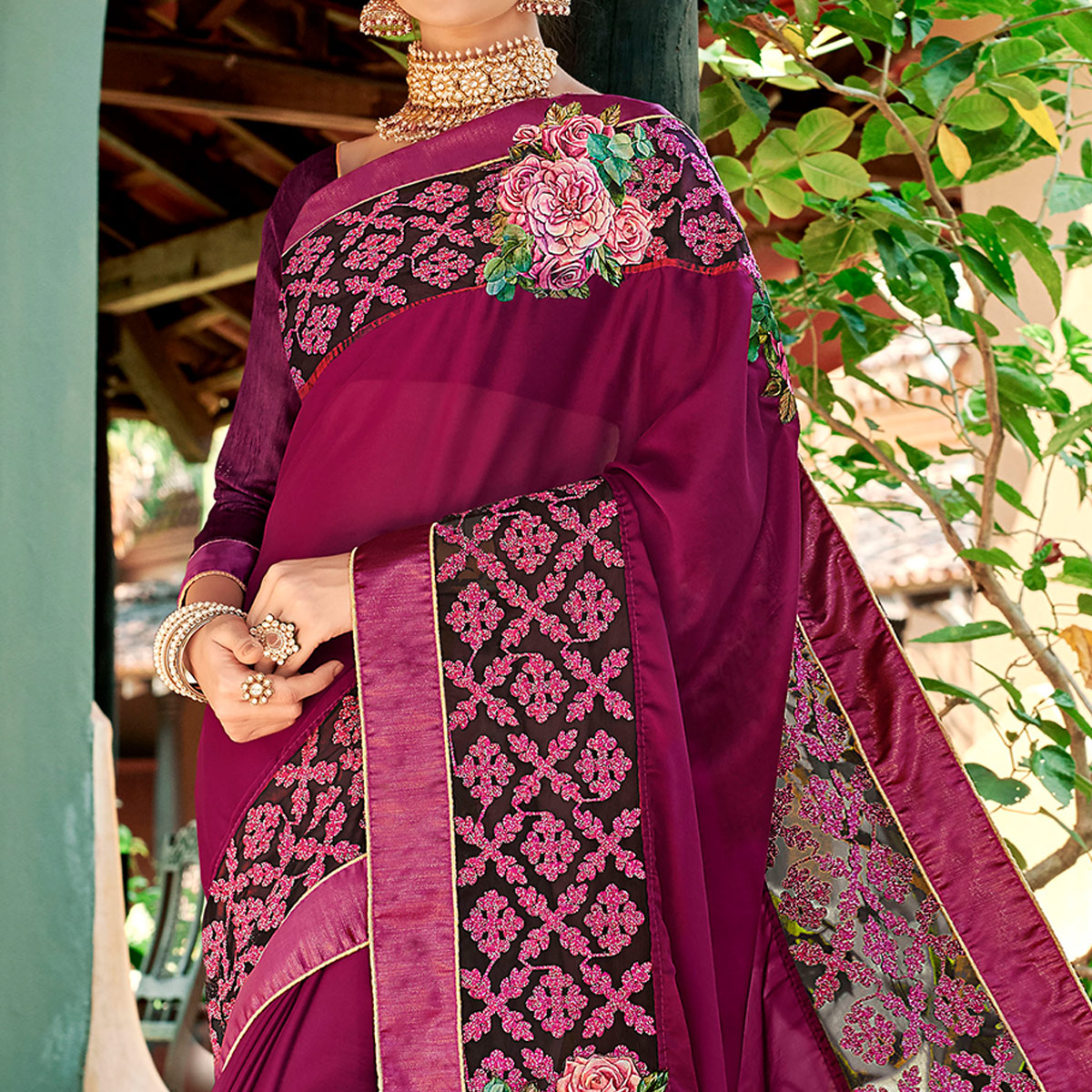 Marvellous Purple Colored Partywear Embroidered Art Silk Saree