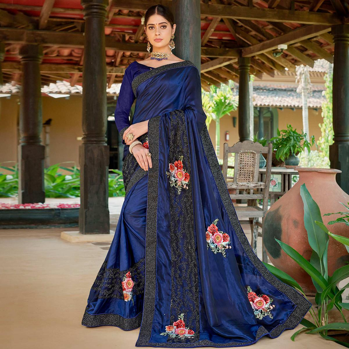 Demanding Navy Blue Colored Partywear Embroidered Art Silk Saree