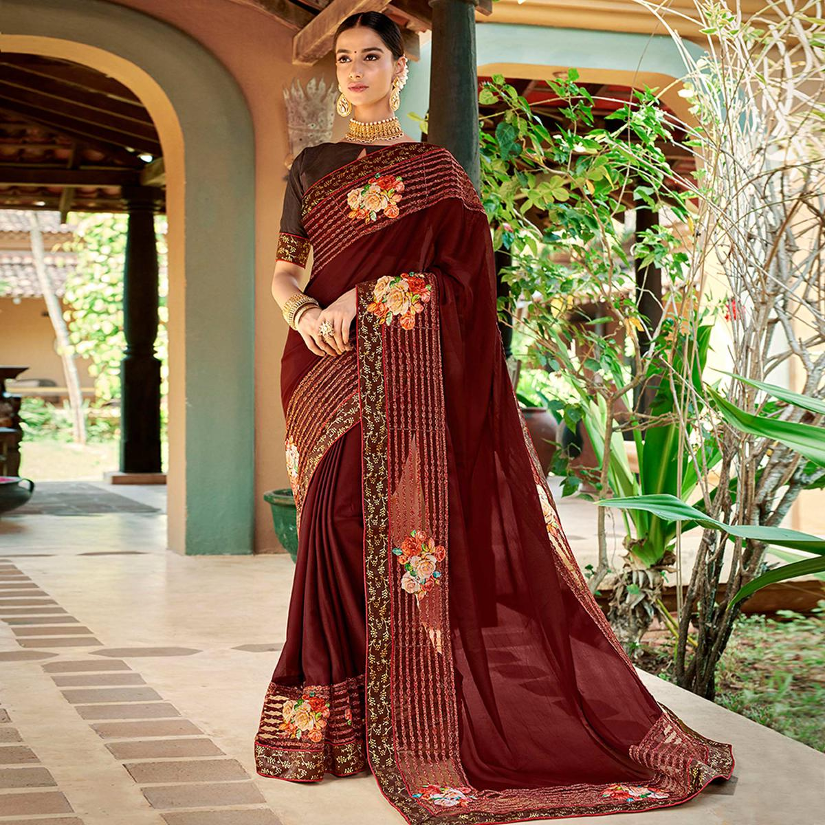 Refreshing Maroon Colored Partywear Embroidered Art Silk Saree