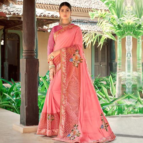 Magnetic Pink Colored Partywear Embroidered Art Silk Saree