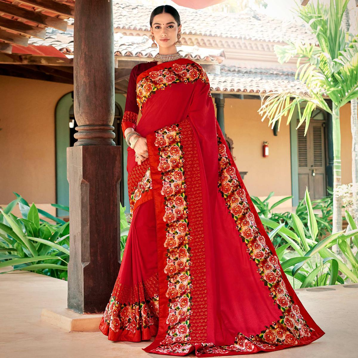 Hypnotic Red Colored Partywear Embroidered Art Silk Saree