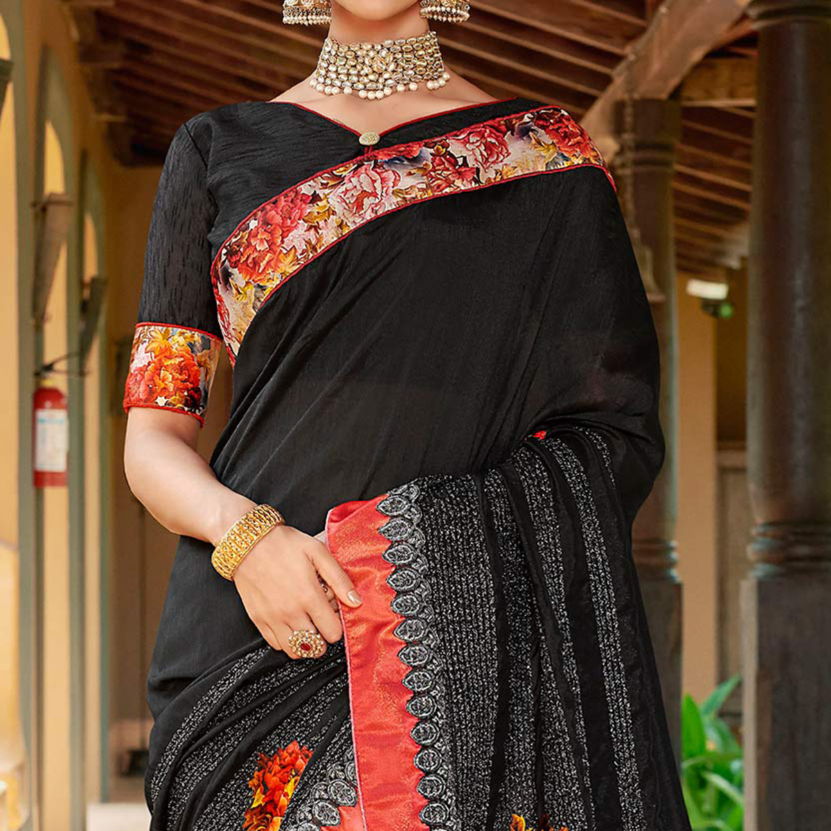 Flattering Black Colored Partywear Embroidered Art Silk Saree