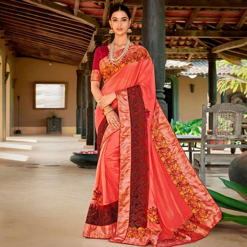 Excellent Peach Colored Partywear Embroidered Art Silk Saree