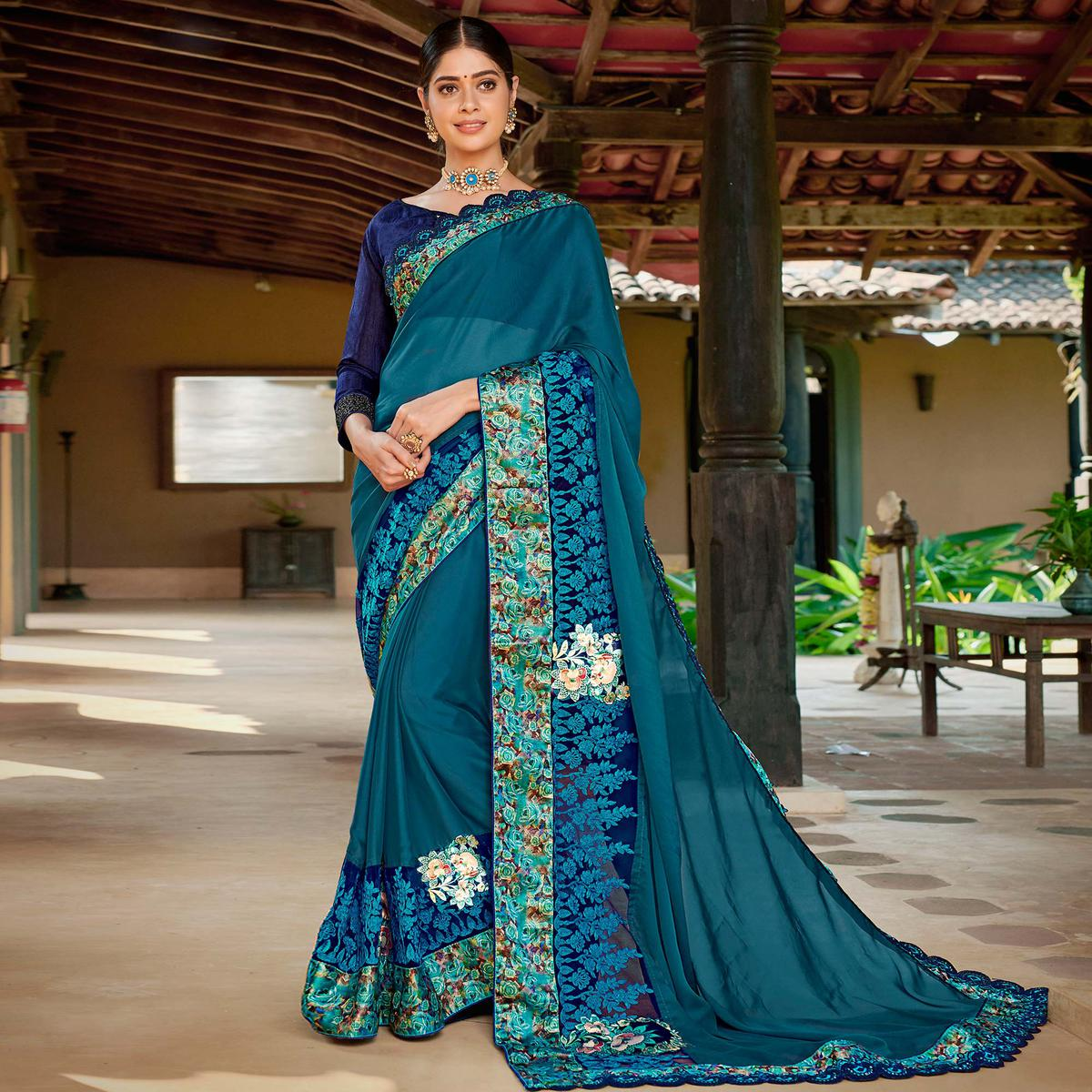 Preferable Teal Blue Colored Partywear Embroidered Art Silk Saree