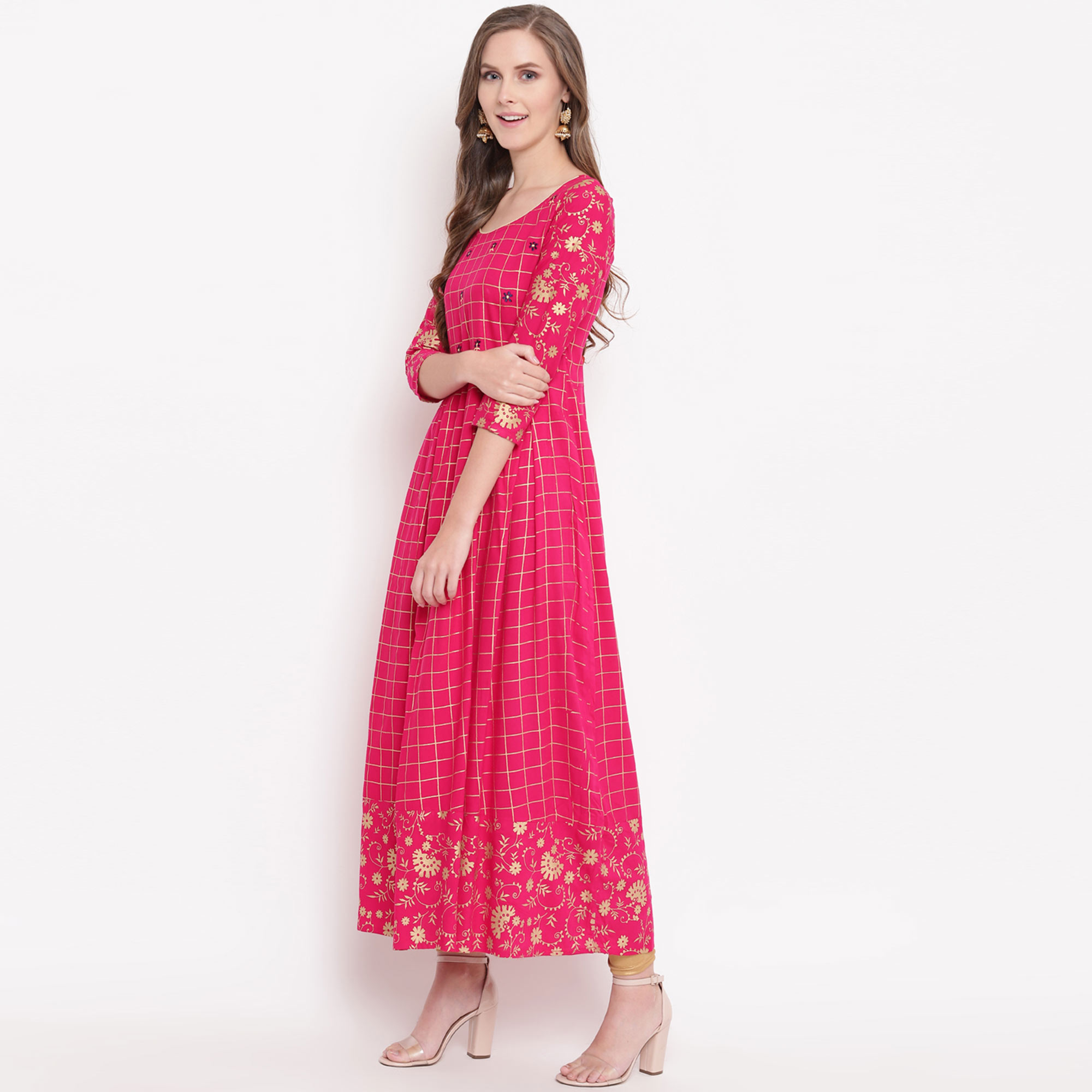 Capricious Pink Colored Partywear Printed Rayon Kurti