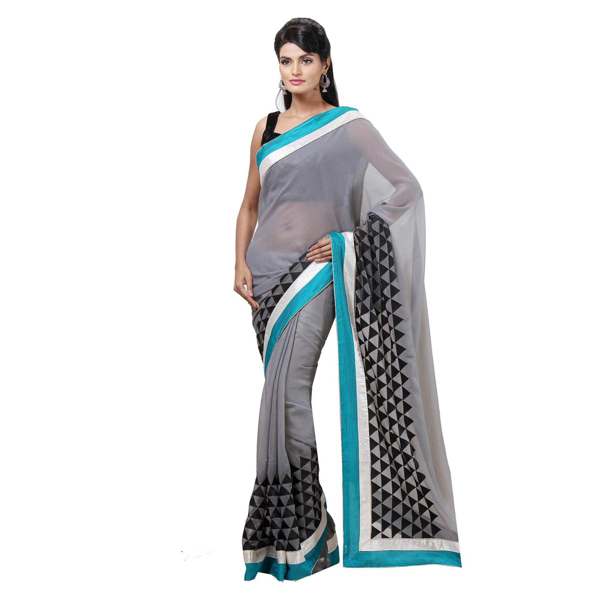 Grey Geometric Design Printed Saree