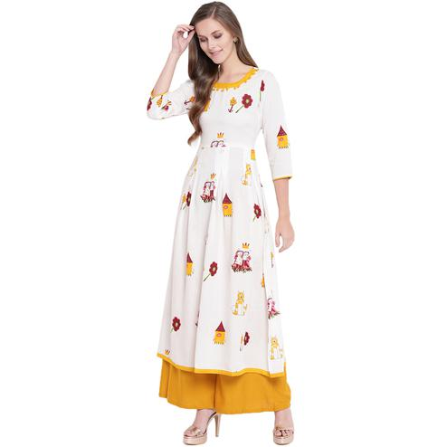 Pleasant White-Yellow Colored Casual Printed Rayon Kurti-Palazzo Set
