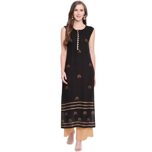 Energetic Black-Beige Colored Casual Printed Rayon Kurti-Palazzo Set