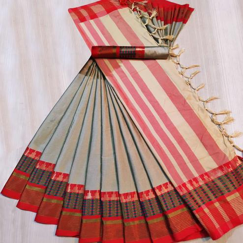 Adorable Gray Colored Festive Wear Woven Cotton Silk Saree