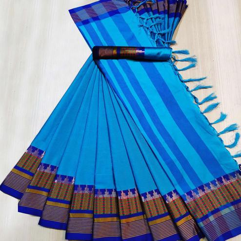 Glorious Sky Blue Colored Festive Wear Woven Cotton Silk Saree